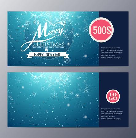 カラフルなモダンなスタイルのベクトル図とクリスマス ギフト券テンプレート