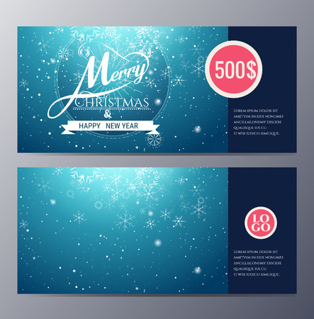 certificate bow: christmas Gift voucher template with colorful modern style vector illustration