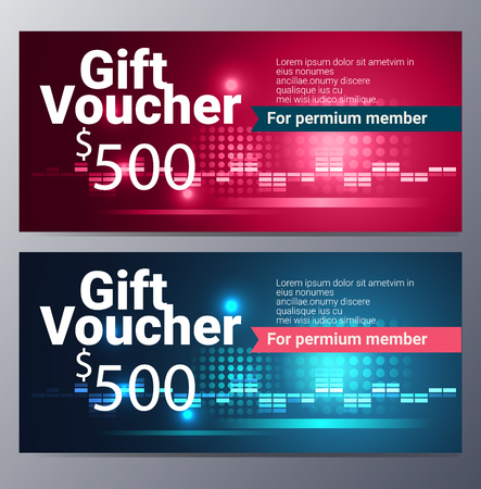 discount card: Gift voucher template with colorful modern style ,pop art design vector illustration
