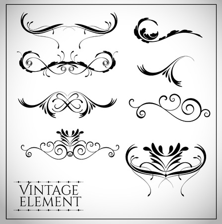 scroll border: collection of page dividers and ornate headpieces vintage style vector illustration Illustration