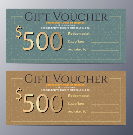 gift card: Gift voucher template with colorful pattern and ethnic element,classic premium style vector illustration Illustration