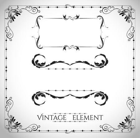 marriage invitation: collection of page dividers and ornate headpieces vintage style vector illustration Illustration