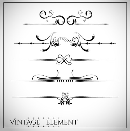 decoration elements: collection of page dividers and ornate headpieces vintage style vector illustration