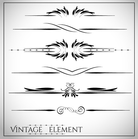 vintage document: collection of page dividers and ornate headpieces vintage style vector illustration Illustration