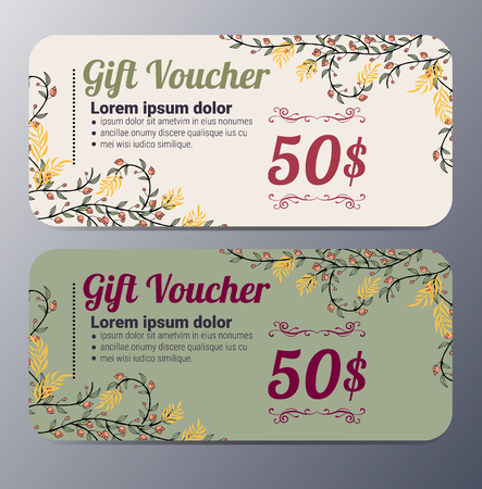 financial reward: Gift voucher template with vintage   pattern ,classic premium style vector  illustration