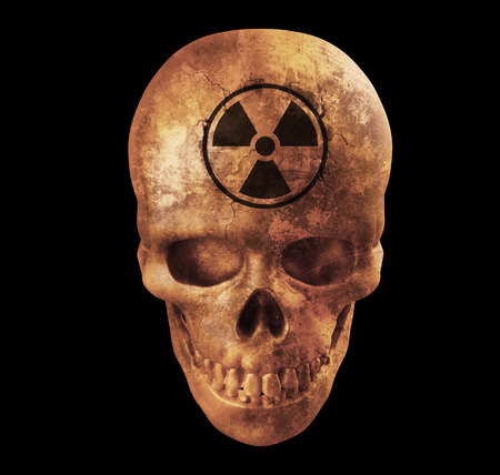 nuke: 3d render of  Human skull with nuke sign on white background with clipping path