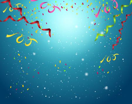 Celebration background ,colorful confetti on blue background