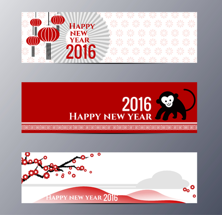 flower banner: Set of flat design chinese New Year banners. The set can be  used for several purposes like: websites banners and  badges, printed materials – greeting cards, gift tags,  labels, stickers, ads, promotional materials.
