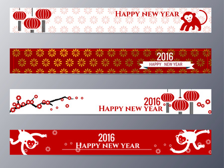 Set of flat design chinese New Year banners. The set can be  used for several purposes like: websites banners and  badges, printed materials – greeting cards, gift tags,  labels, stickers, ads, promotional materials.
