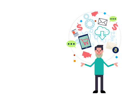 employ: white business man standing with confident and online business icon floating over background,represent concept of e- commerce and self employ . Illustration
