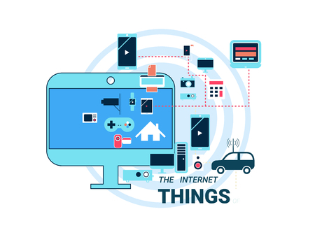 things: Smart appliances in network. Concept for Internet of Things showing many different connection between device