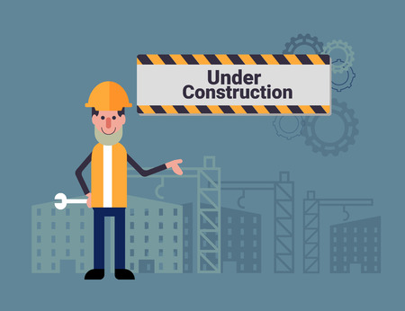 under construction sign with man: cartoon young man with engineering tool standing infront of building and under construction sign
