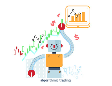 algorithmic: robot  standing confidently in front of rising stock market chart represent up trend of algorithmic trading