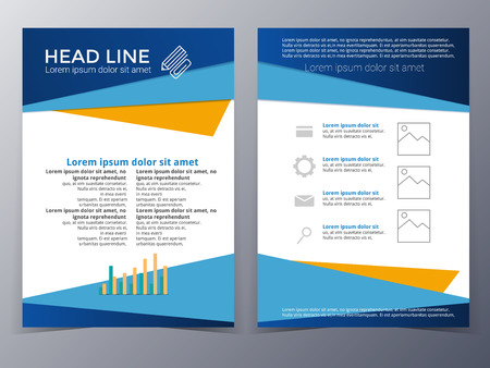 business and technology brochure design template in A4 size for use as company annual report, poster