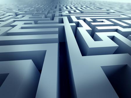 problem solving: blue labyrinth 3d render illustration represent complex problem solving concept