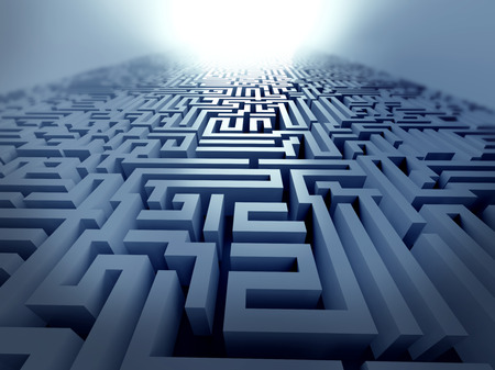 solving: blue labyrinth 3d render illustration represent complex problem solving concept