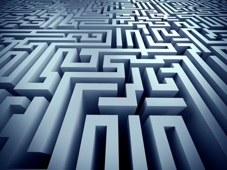 complicated journey: blue labyrinth 3d render illustration represent complex problem solving concept