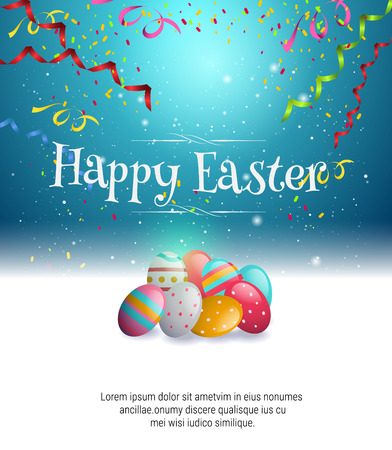 copy text: easter egg and  bright star on dark blue background illustration with space for copy text