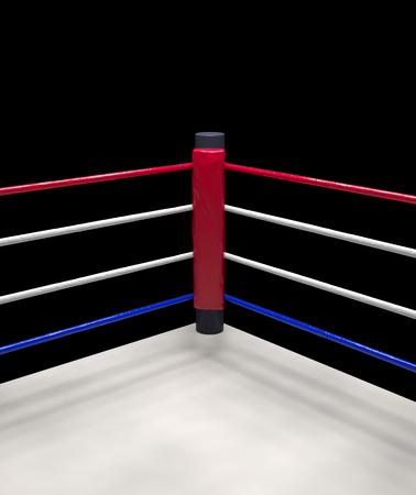 Nahaufnahme von der roten Ecke Boxring von Seilen auf dunklem Hintergrund umgeben up isoliert