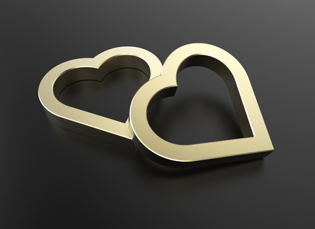 dazzling: dazzling golden heart isolated on black reflective surface and have space for text or headline , photo-realistic 3d rendering with clipping mask Stock Photo