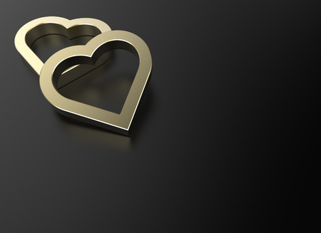 clipping mask: dazzling golden heart isolated on black reflective surface and have space for text or headline , photo-realistic 3d rendering with clipping mask Stock Photo