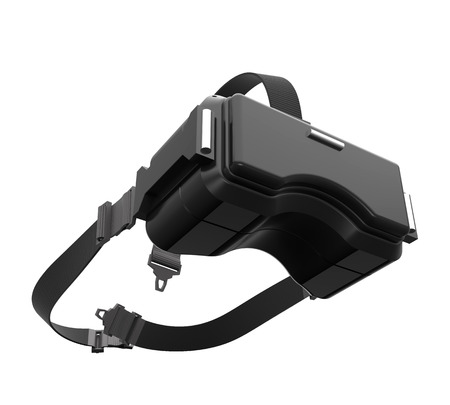 3d rendering image of black VR headset on white background with clipping path, concept design