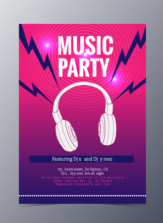 indie: Indie musician concert show poster with headphone vector illustration Illustration