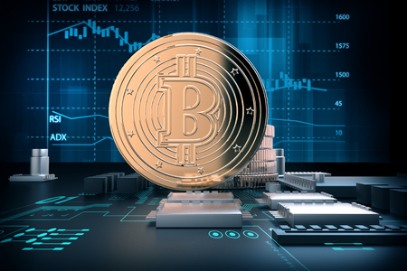 3d illustration of golden bitcoins on computer motherboard represent  concept of virtual money