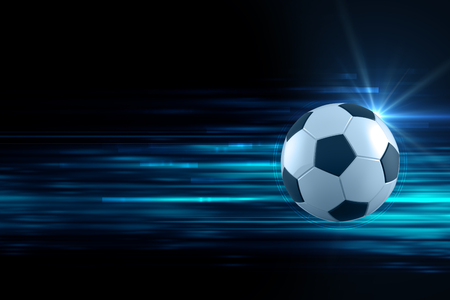3d illustration of soccer ball in blue light streak background