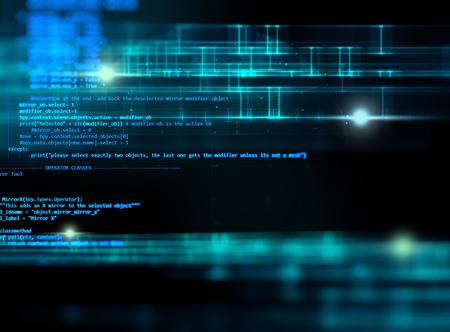 código de programación de tecnología abstracta del desarrollador de software y la escritura por ordenador