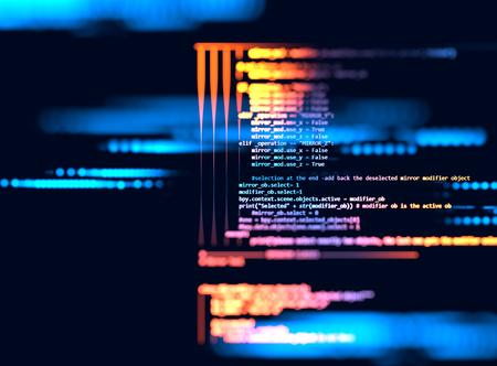 codigo binario: código de programación de tecnología abstracta del desarrollador de software y la escritura por ordenador