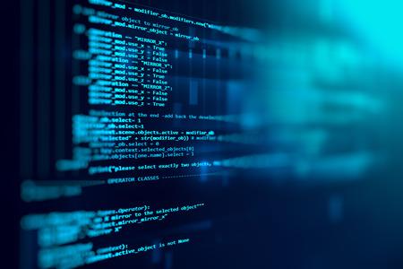 Código de programación de tecnología de fondo abstracto de desarrollador de software y script de computadora