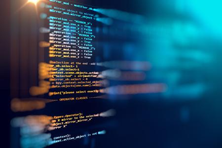 Código de programación de tecnología de fondo abstracto de desarrollador de software y script de computadora Foto de archivo