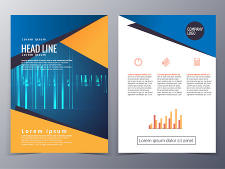 business and technology brochure design template vector  in A4 size  for use as company annual report, poster,flyer 矢量图像