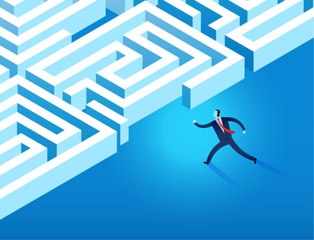 business man running into maze represent business challenge and problem solving concept