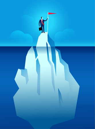 Business man with flag on the iceberg represent business risk and hidden obstacle