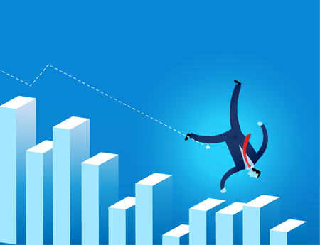 economy crisis: businessman  falling on financial graph with arrow trending downwards vector illustration represent  economy crisis and down trend of financial situation