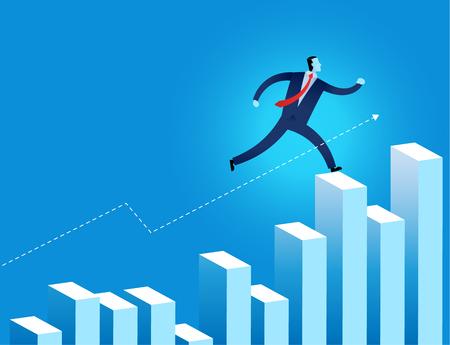 businessman junp over the financial graph vector illustration represent business growth 矢量图像