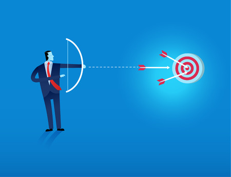business man shooting arrow to target vector illustration represent Business excellence, corporate performance management, and achieving goals concept consisting of many targets and three arrows hitting the center of the objective. 矢量图像