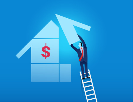 equity: man climbing on the ladder to complete business goal  represent successful investment and equity investment concept Vectores