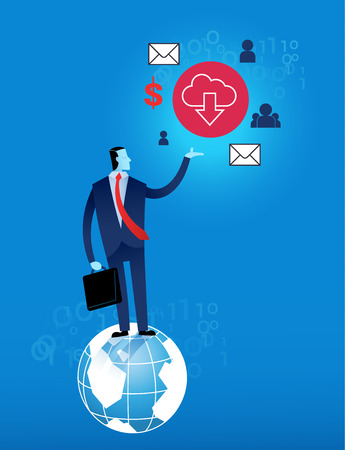 business man with cloud computing concept vector illustration on blue background