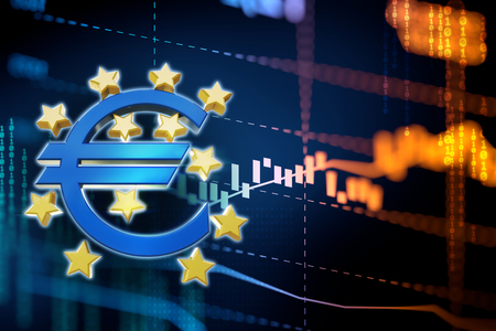 european euro: 3d rendering of euro and european union sign on blue technology background