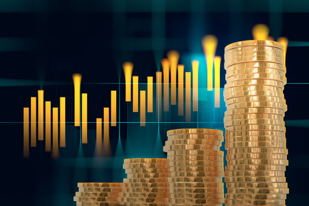 financial graph: 3d rendering of coin stacks on technology financial graph background Stock Photo