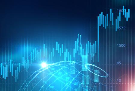 financiële beurs grafiek op technologie abstracte achtergrond Stockfoto