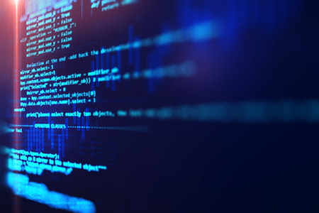 Programming code abstract technology background of software developer and  Computer script Archivio Fotografico