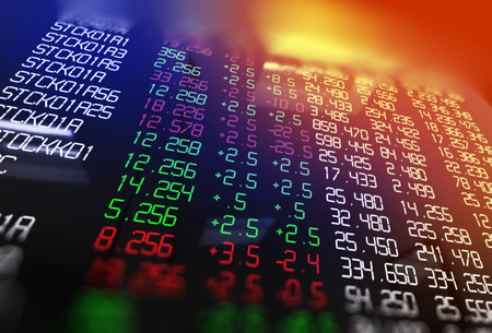 financial graph: 3d rendering of technical financial graph on stock exchange display panel