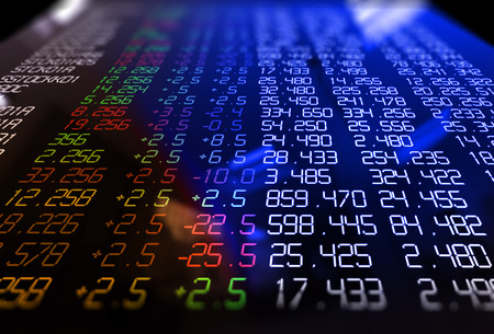 3d rendering of technical financial graph on stock exchange display panel