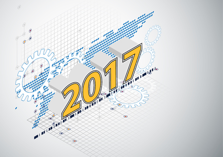 new technology: 2017 happy new year Celebration background in hi technology style vector illustration for use with landing page, online course cover,brochure. Illustration