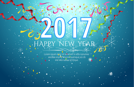 new year celebration: 2017 happy new year Celebration background ,colorful confetti on blue background