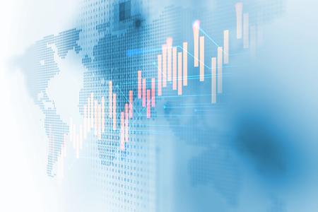 aarde futuristische technologie en de financiële beurs grafiek op technologie abstracte achtergrond
